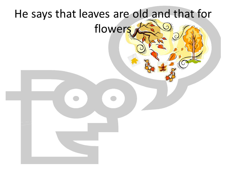 He says that leaves are old and that for flowers