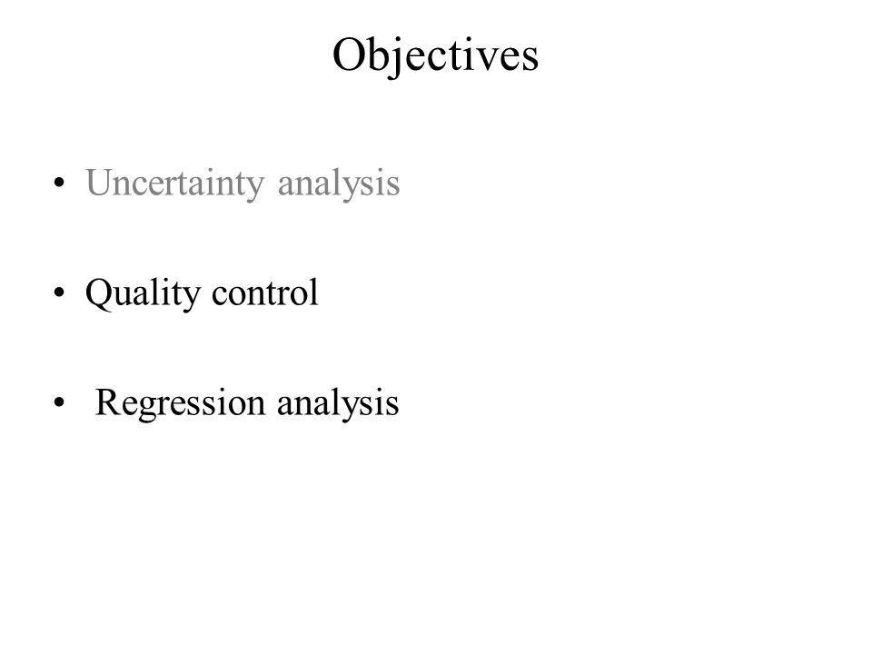 Objectives Uncertainty analysis Quality control Regression analysis