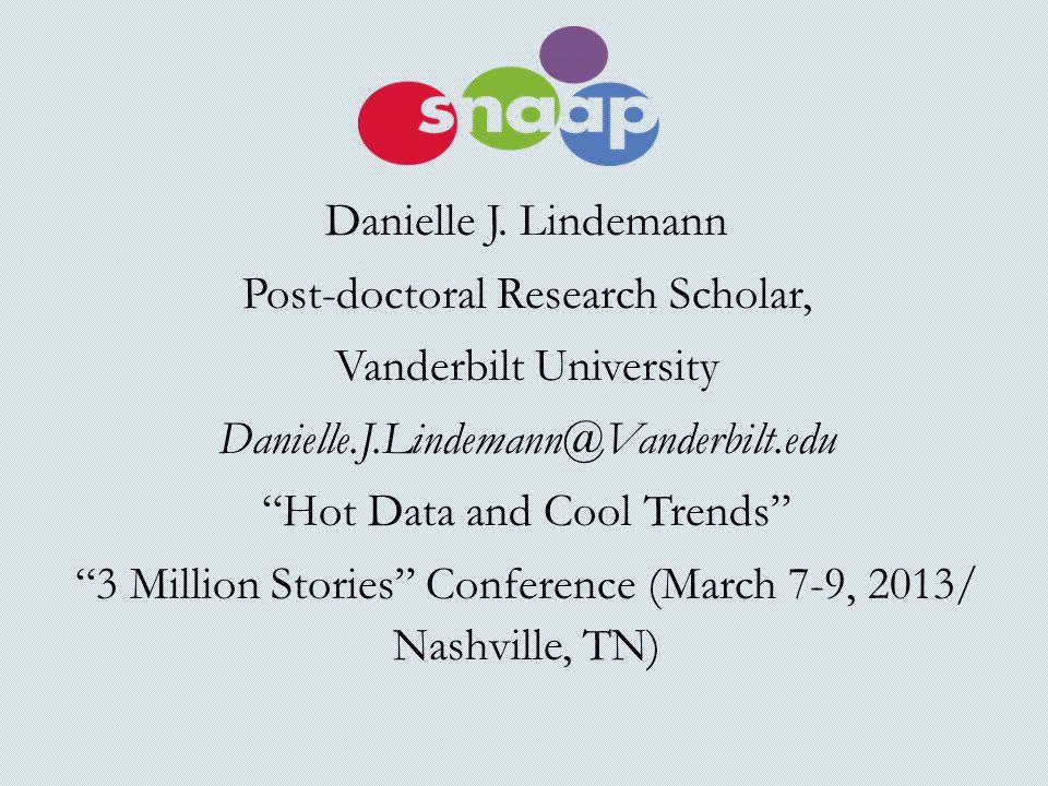 "Danielle J. Lindemann Post-doctoral Research Scholar, Vanderbilt University Danielle.J.Lindemann@Vanderbilt.edu ""Hot Data and Cool Trends"" ""3 Million"