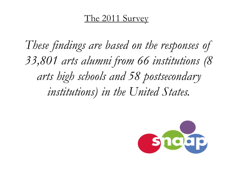 The 2011 Survey These findings are based on the responses of 33,801 arts alumni from 66 institutions (8 arts high schools and 58 postsecondary institutions) in the United States.
