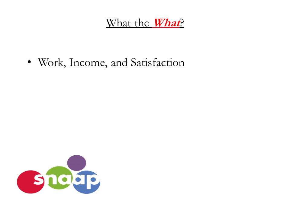 What the What Work, Income, and Satisfaction