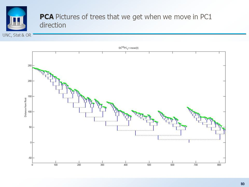 80 UNC, Stat & OR PCA Pictures of trees that we get when we move in PC1 direction