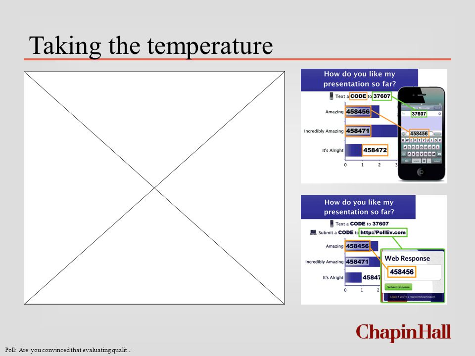 Taking the temperature Don't forget: You can copy- paste this slide into other presentations, and move or resize the poll.