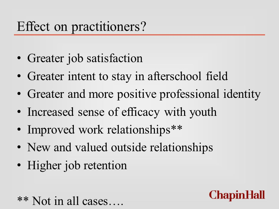 Effect on practitioners.