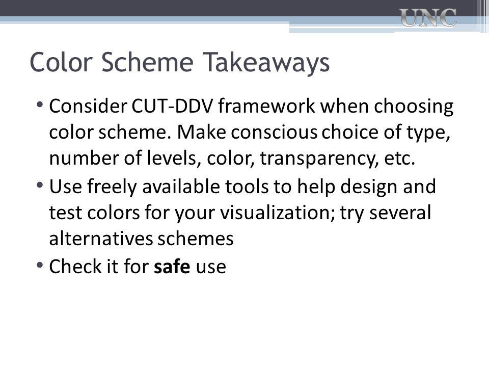 Color Scheme Takeaways Consider CUT-DDV framework when choosing color scheme. Make conscious choice of type, number of levels, color, transparency, et