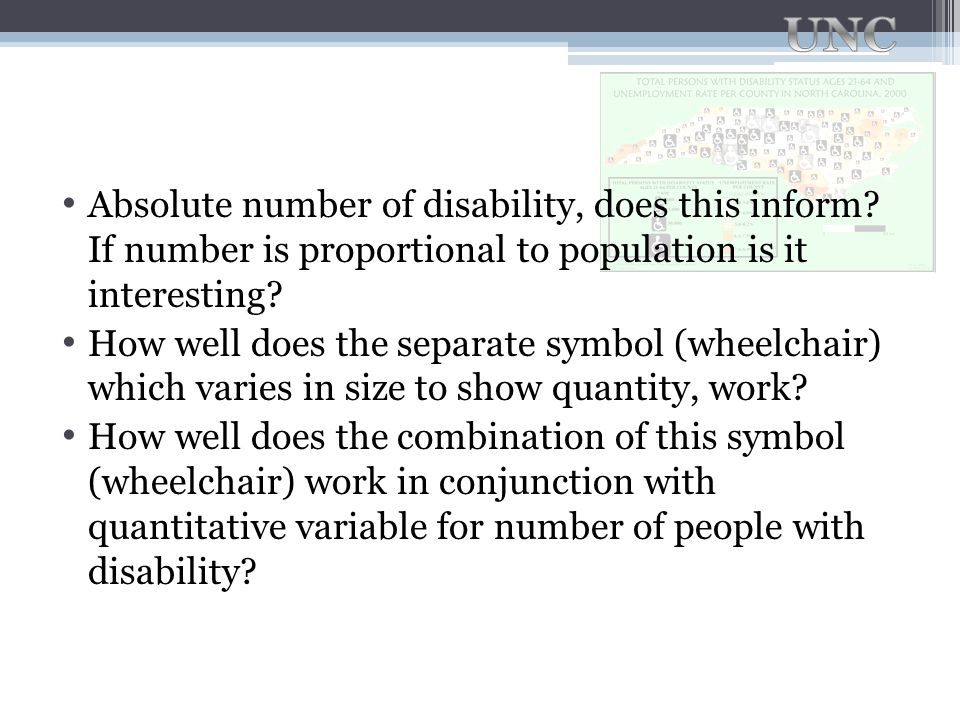 Absolute number of disability, does this inform? If number is proportional to population is it interesting? How well does the separate symbol (wheelch