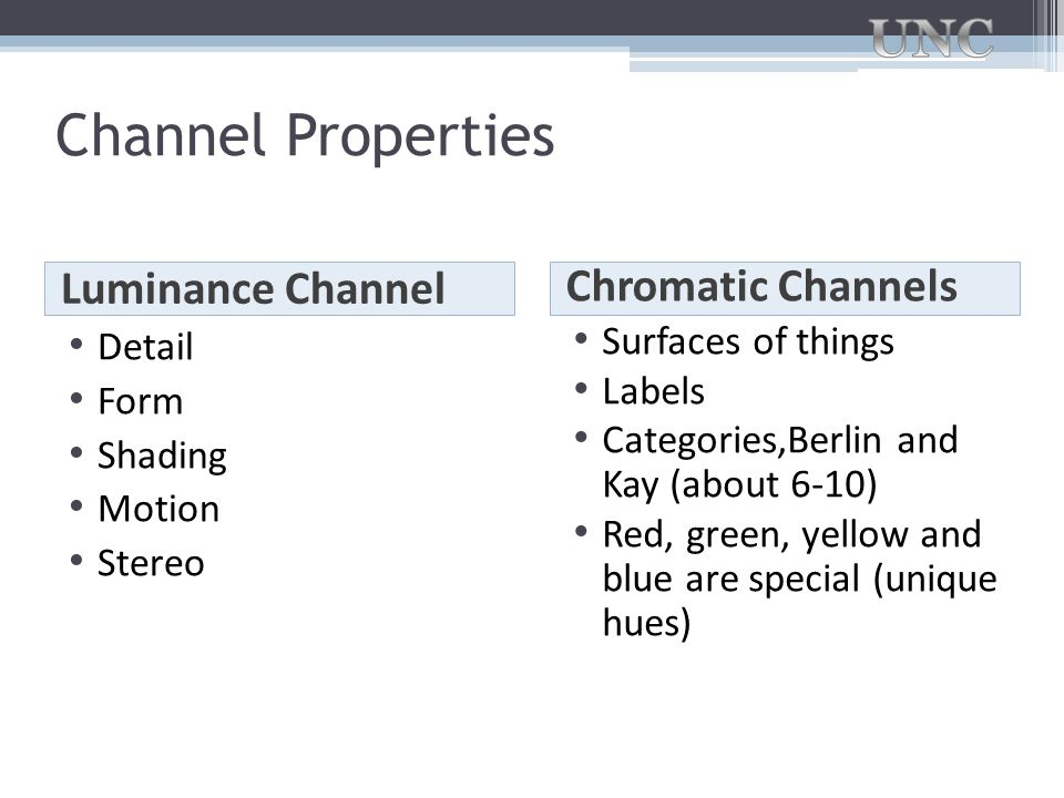 Channel Properties Luminance Channel Chromatic Channels Detail Form Shading Motion Stereo Surfaces of things Labels Categories,Berlin and Kay (about 6
