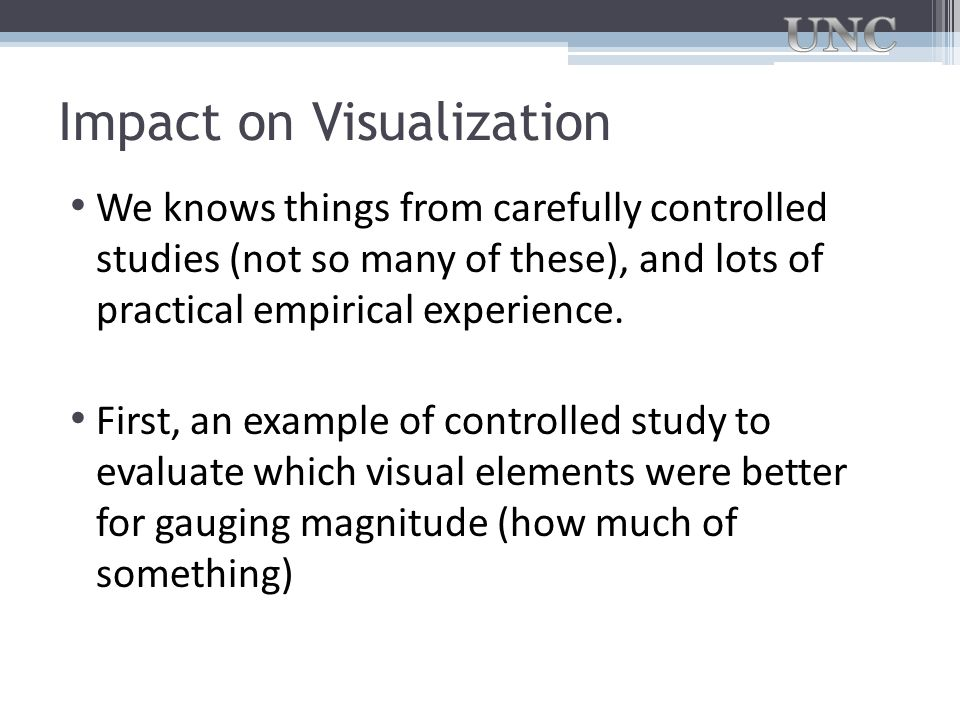 Impact on Visualization We knows things from carefully controlled studies (not so many of these), and lots of practical empirical experience. First, a