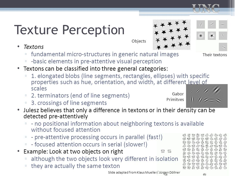 Texture Perception Textons ▫ fundamental micro-structures in generic natural images ▫ -basic elements in pre-attentive visual perception Textons can b