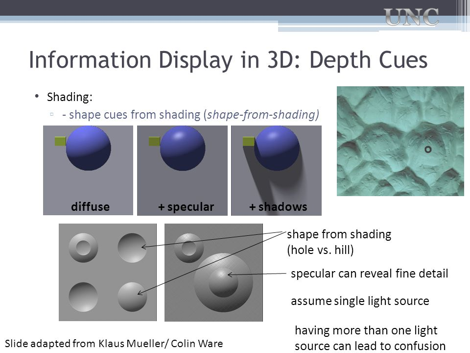 Information Display in 3D: Depth Cues Shading: ▫ - shape cues from shading (shape-from-shading) diffuse+ specular+ shadows shape from shading (hole vs