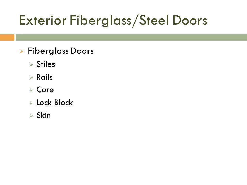 Exterior Fiberglass/Steel Doors  Fiberglass Doors  Stiles  Rails  Core  Lock Block  Skin