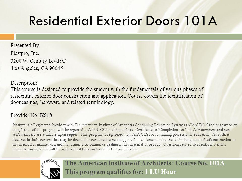 The American Institute of Architects · Course No.