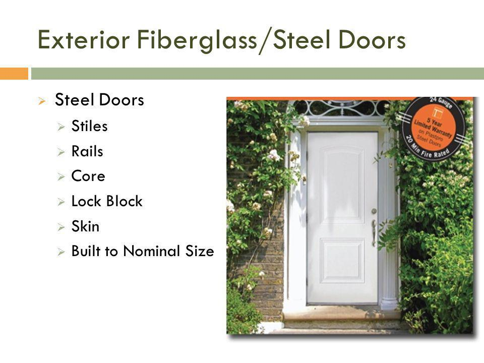 Exterior Fiberglass/Steel Doors  Steel Doors  Stiles  Rails  Core  Lock Block  Skin  Built to Nominal Size