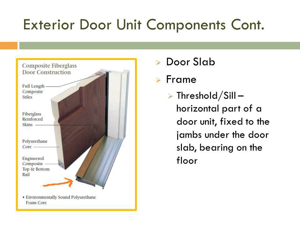 Exterior Door Unit Components Cont.  Door Slab  Frame  Threshold/Sill – horizontal part of a door unit, fixed to the jambs under the door slab, bea