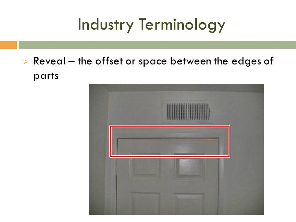 Industry Terminology  Reveal – the offset or space between the edges of parts