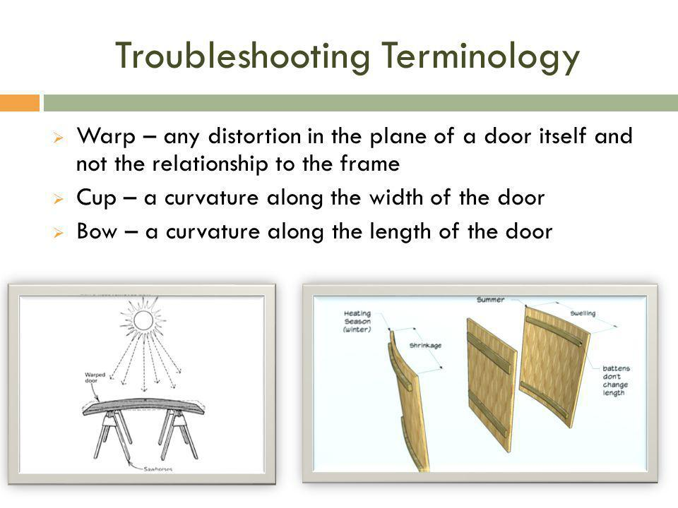 Troubleshooting Terminology  Warp – any distortion in the plane of a door itself and not the relationship to the frame  Cup – a curvature along the
