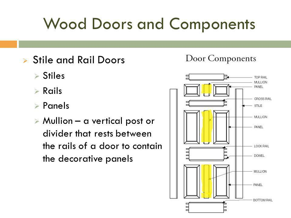 Wood Doors and Components  Stile and Rail Doors  Stiles  Rails  Panels  Mullion – a vertical post or divider that rests between the rails of a do