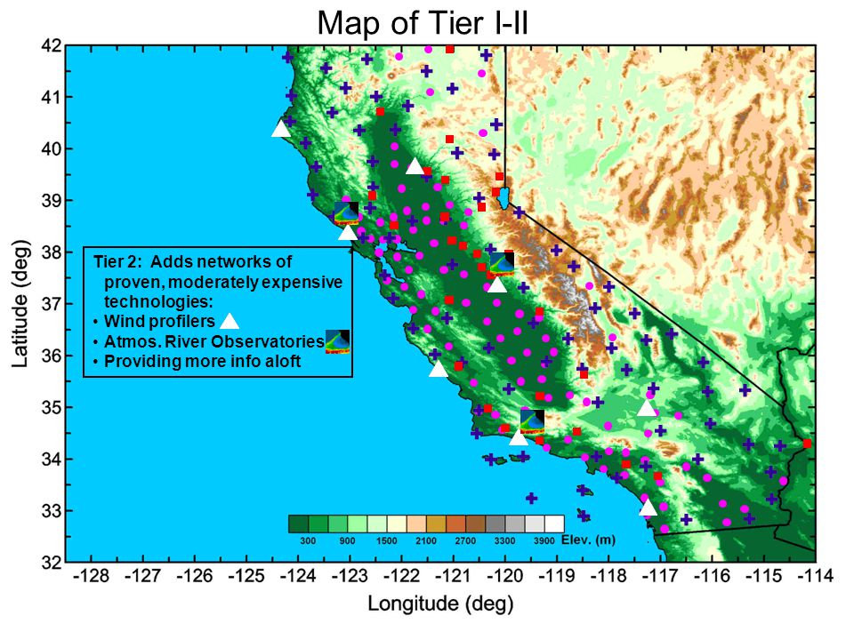 Tier 1: Builds on existing networks and adds proven inexpensive technologies: GPS-met Soil moisture Snow-level radars Tier 2: Adds networks of proven,