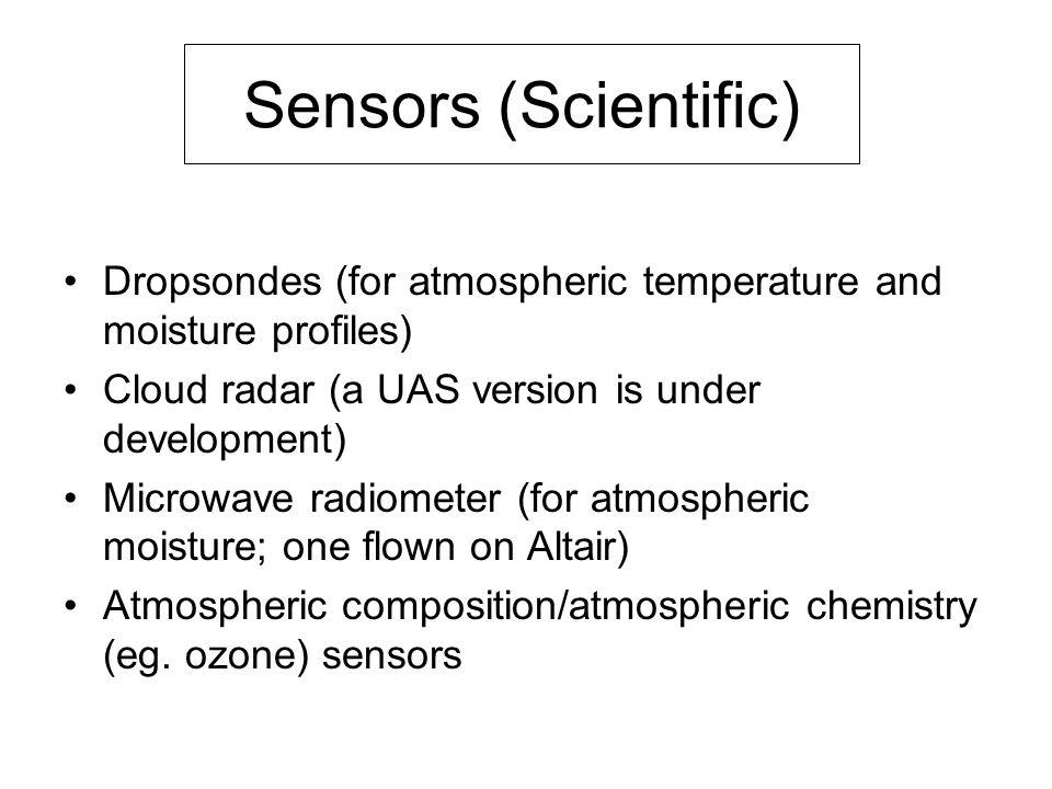 Sensors (Scientific) Dropsondes (for atmospheric temperature and moisture profiles) Cloud radar (a UAS version is under development) Microwave radiome