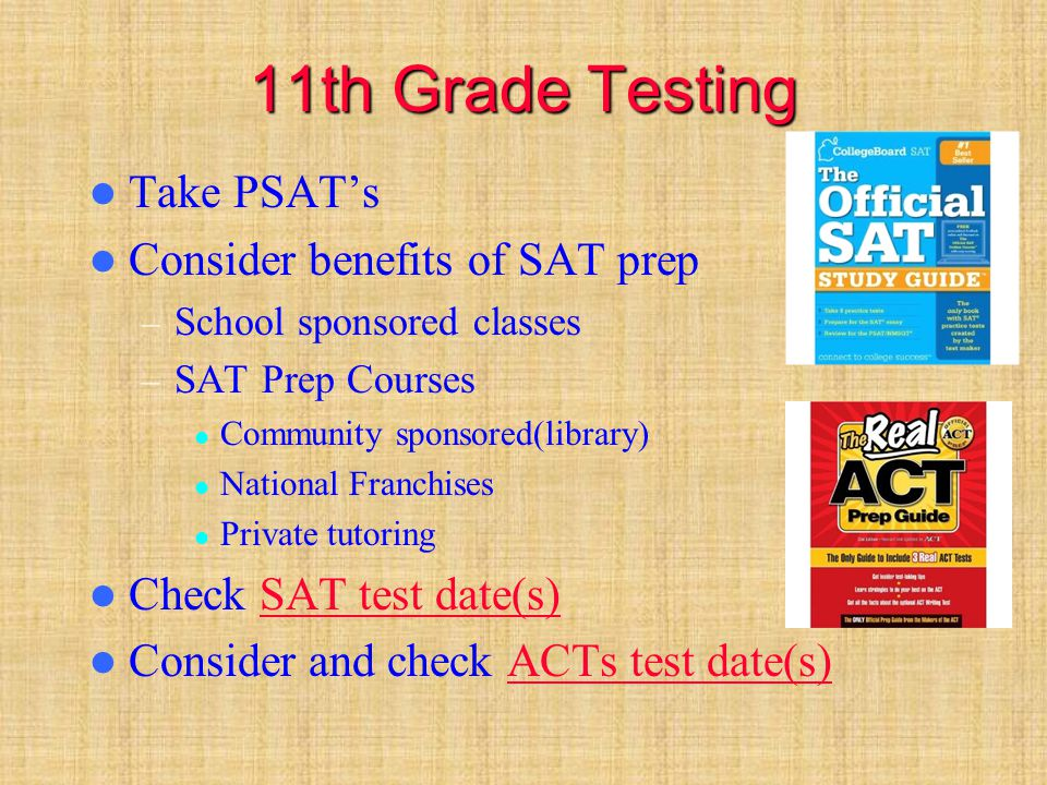 12th Grade Testing Check to see if your potential colleges require specific testing to justify special services, program/testing modifications & language exemptions – WAITT – Achievement testing – Psychological or IQ Tests Request evaluation from your school psychologist