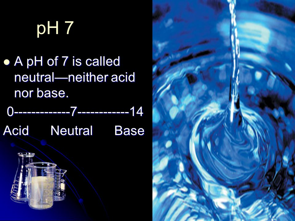 pH 7 A pH of 7 is called neutral—neither acid nor base. A pH of 7 is called neutral—neither acid nor base. 0-------------7------------14 0------------