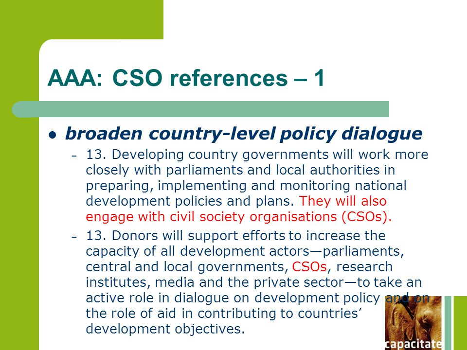 AAA: CSO references – 1 broaden country-level policy dialogue – 13.