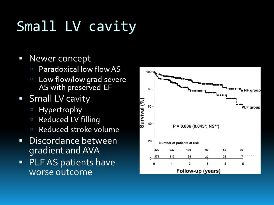 Small LV cavity  Newer concept  Paradoxical low flow AS  Low flow/low grad severe AS with preserved EF  Small LV cavity  Hypertrophy  Reduced LV filling  Reduced stroke volume  Discordance between gradient and AVA  PLF AS patients have worse outcome