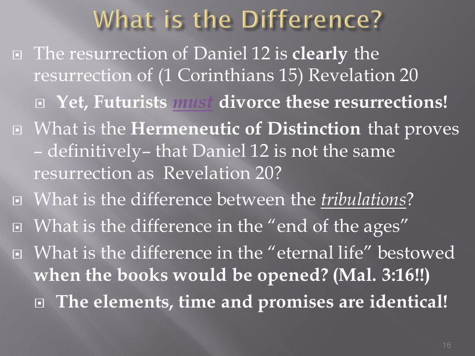  The resurrection of Daniel 12 is clearly the resurrection of (1 Corinthians 15) Revelation 20  Yet, Futurists must divorce these resurrections.