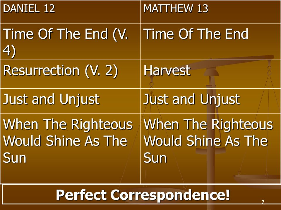 7 DANIEL 12 MATTHEW 13 Time Of The End (V. 4) Time Of The End Resurrection (V.