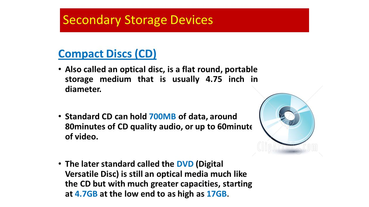 Secondary Storage Devices Hard Disks Consists of one or more rigid metal plates coated with a metal oxide material that allows data to be magnetically