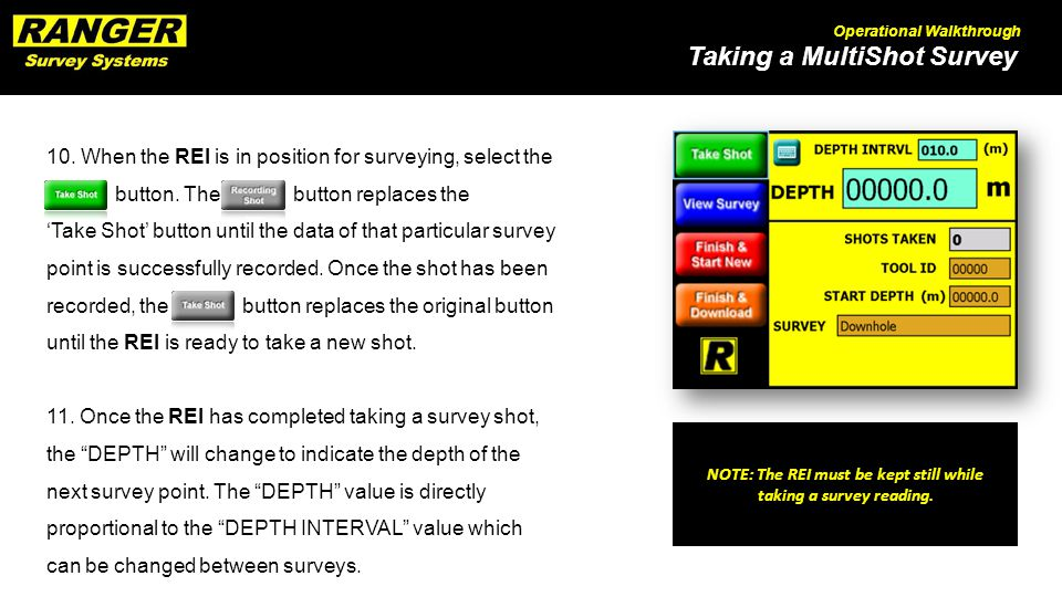Taking a MultiShot Survey Operational Walkthrough 10.