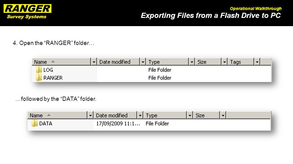 Exporting Files from a Flash Drive to PC Operational Walkthrough 4.