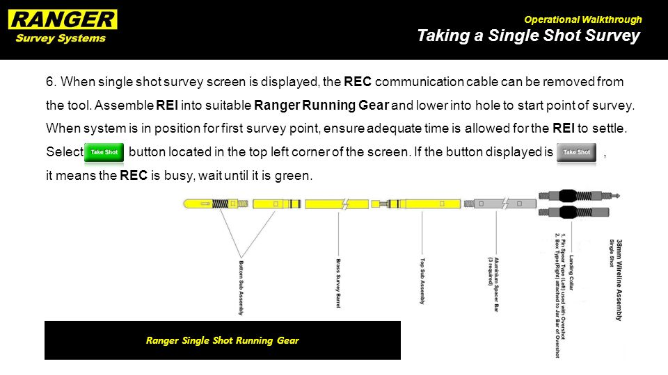 Taking a Single Shot Survey Operational Walkthrough 6. When single shot survey screen is displayed, the REC communication cable can be removed from th