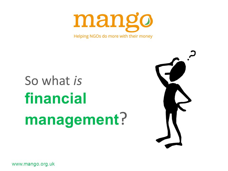 www.mango.org.uk To enable staff to make better decisions on the use of funds To achieve the objectives of the organisation To get best value for our money To enhance the credibility of the organisation To strengthen fundraising efforts