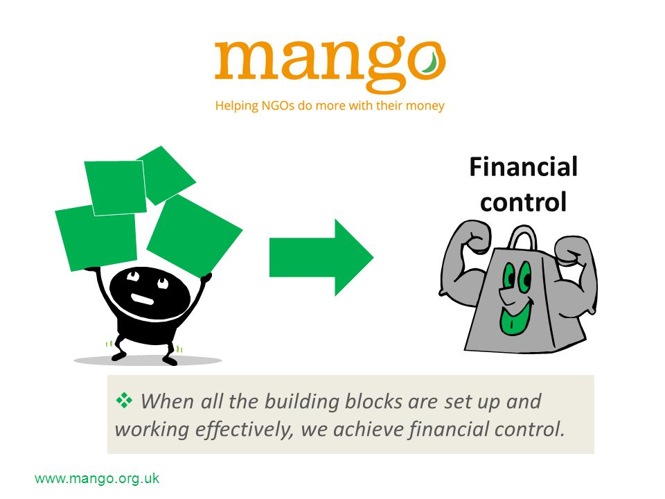  When all the building blocks are set up and working effectively, we achieve financial control.