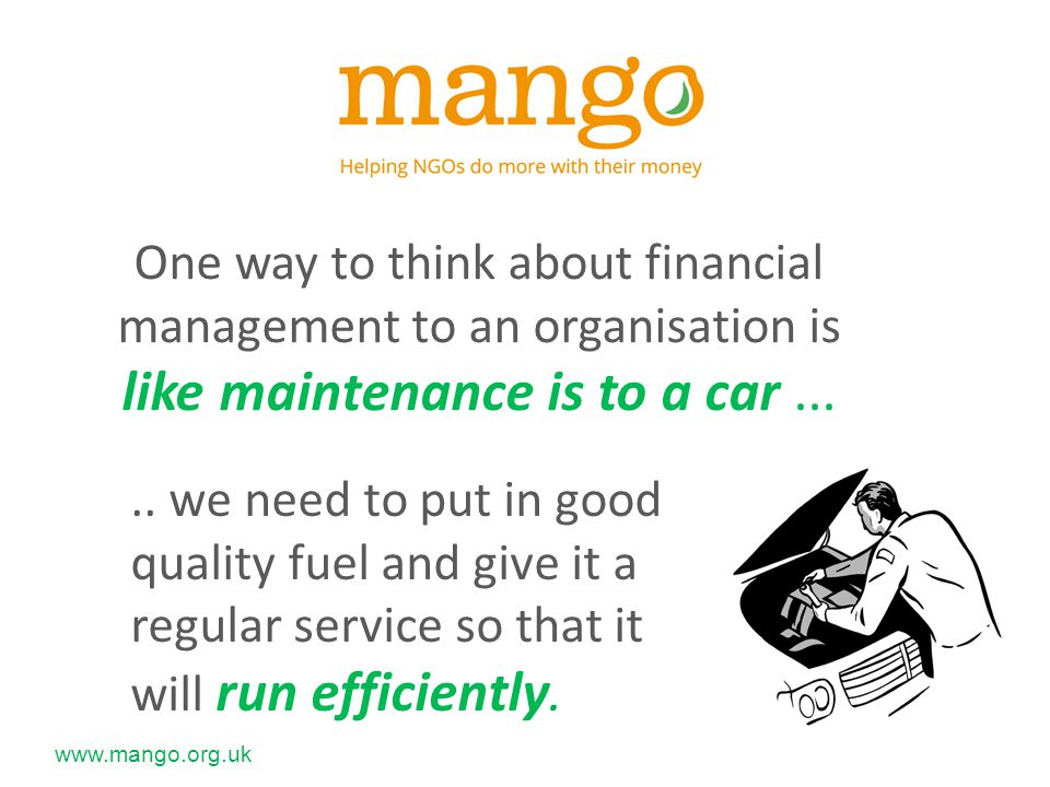 www.mango.org.uk Typical risks for NGOs : Internal – theft, fraud, fire, accidental damage...