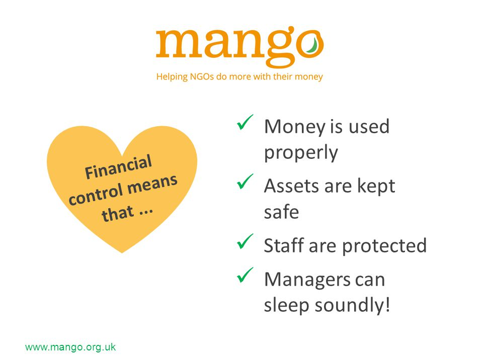 www.mango.org.uk There are four building blocks in a strong financial management system...
