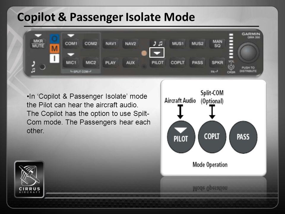Copilot & Passenger Isolate Mode In 'Copilot & Passenger Isolate' mode the Pilot can hear the aircraft audio.