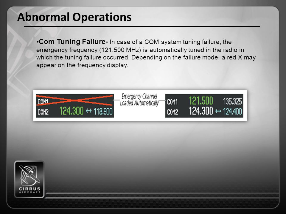 Abnormal Operations Com Tuning Failure- In case of a COM system tuning failure, the emergency frequency (121.500 MHz) is automatically tuned in the ra