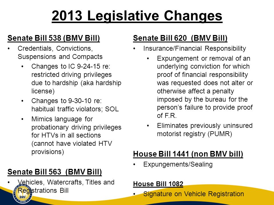 What We Anticipate Seeing in Upcoming Legislative Session General BMV Cleanup Fee rewrite Mopeds ATVs Insurance Verification and Penalties Driving Privileges Only Card for Illegal Immigrants Seal/Expunge/Restricted Access to Records Criminal Code Rewrite