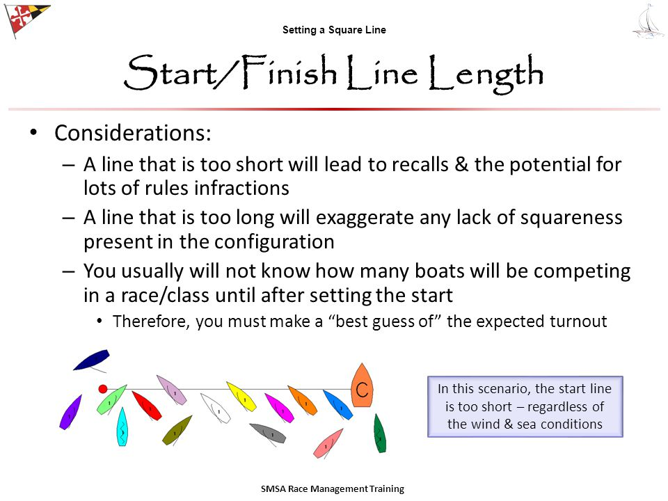Setting a Square Line Start/Finish Line Length SMSA Race Management Training Considerations: – A line that is too short will lead to recalls & the potential for lots of rules infractions – A line that is too long will exaggerate any lack of squareness present in the configuration – You usually will not know how many boats will be competing in a race/class until after setting the start Therefore, you must make a best guess of the expected turnout In this scenario, the start line is too short – regardless of the wind & sea conditions
