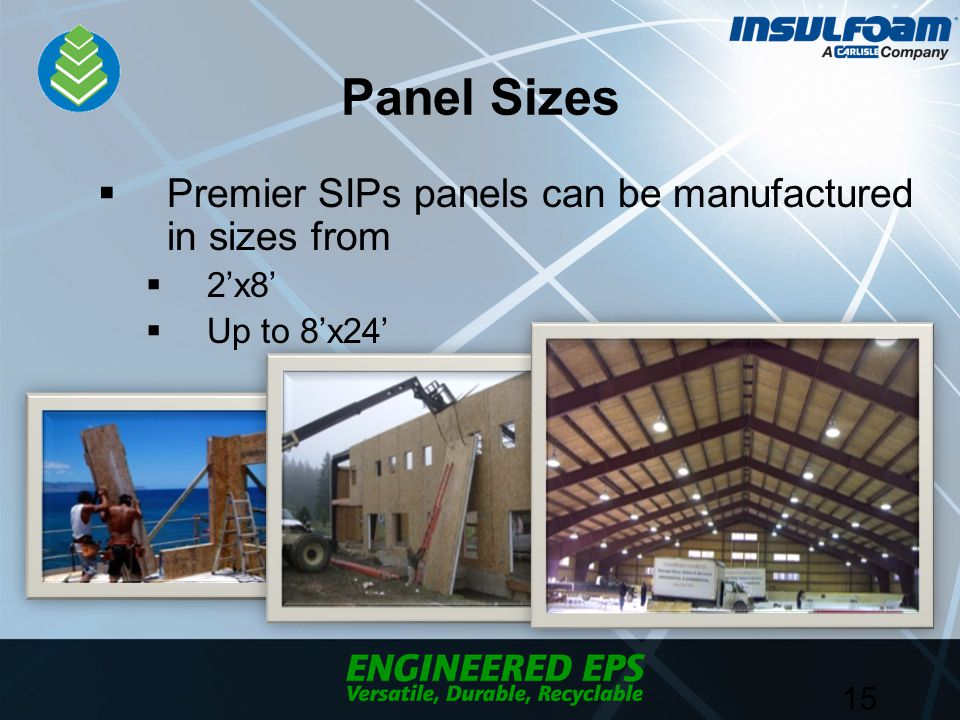 Panel Sizes  Premier SIPs panels can be manufactured in sizes from  2'x8'  Up to 8'x24' 15