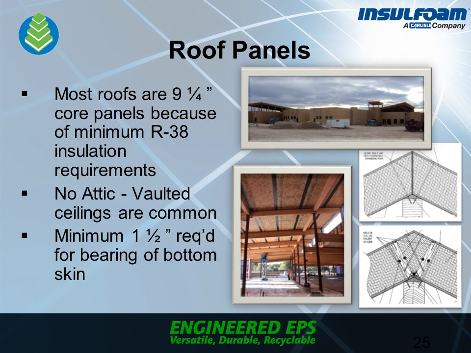 Roof Panels  Most roofs are 9 ¼ core panels because of minimum R-38 insulation requirements  No Attic - Vaulted ceilings are common  Minimum 1 ½ req'd for bearing of bottom skin 25
