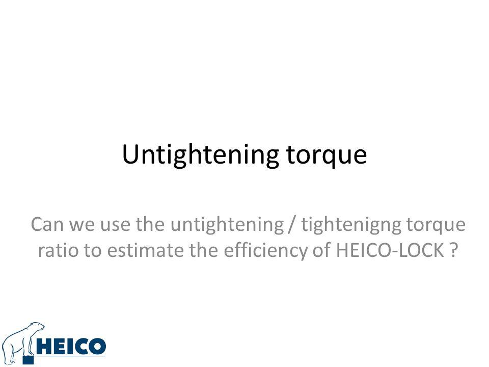 Untightening torque Can we use the untightening / tightenigng torque ratio to estimate the efficiency of HEICO-LOCK ?
