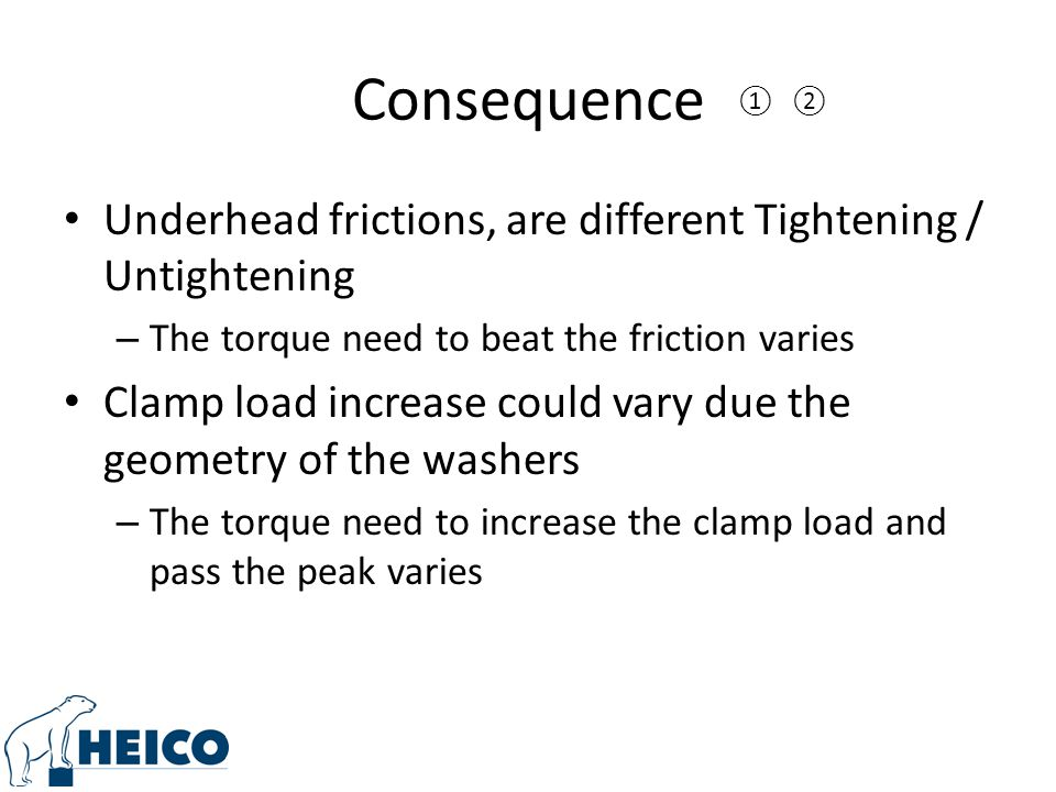 Underhead frictions, are different Tightening / Untightening – The torque need to beat the friction varies Clamp load increase could vary due the geometry of the washers – The torque need to increase the clamp load and pass the peak varies ②①