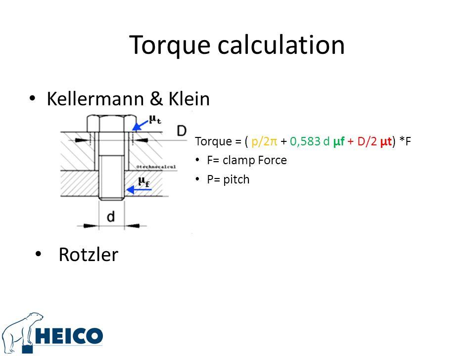 Torque calculation Kellermann & Klein Torque = ( p/2π + 0,583 d μf + D/2 μt) *F F= clamp Force P= pitch Rotzler