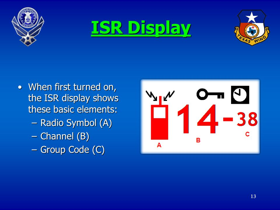 13 ISR Display When first turned on, the ISR display shows these basic elements:When first turned on, the ISR display shows these basic elements: –Rad