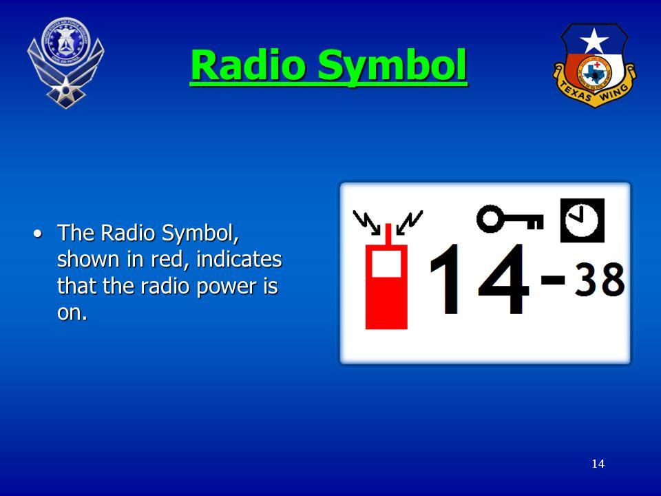 14 Radio Symbol The Radio Symbol, shown in red, indicates that the radio power is on.The Radio Symbol, shown in red, indicates that the radio power is on.