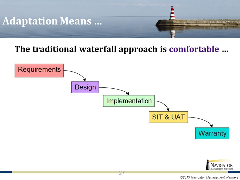 ©2013 Navigator Management Partners Adaptation Means … The traditional waterfall approach is comfortable … 27