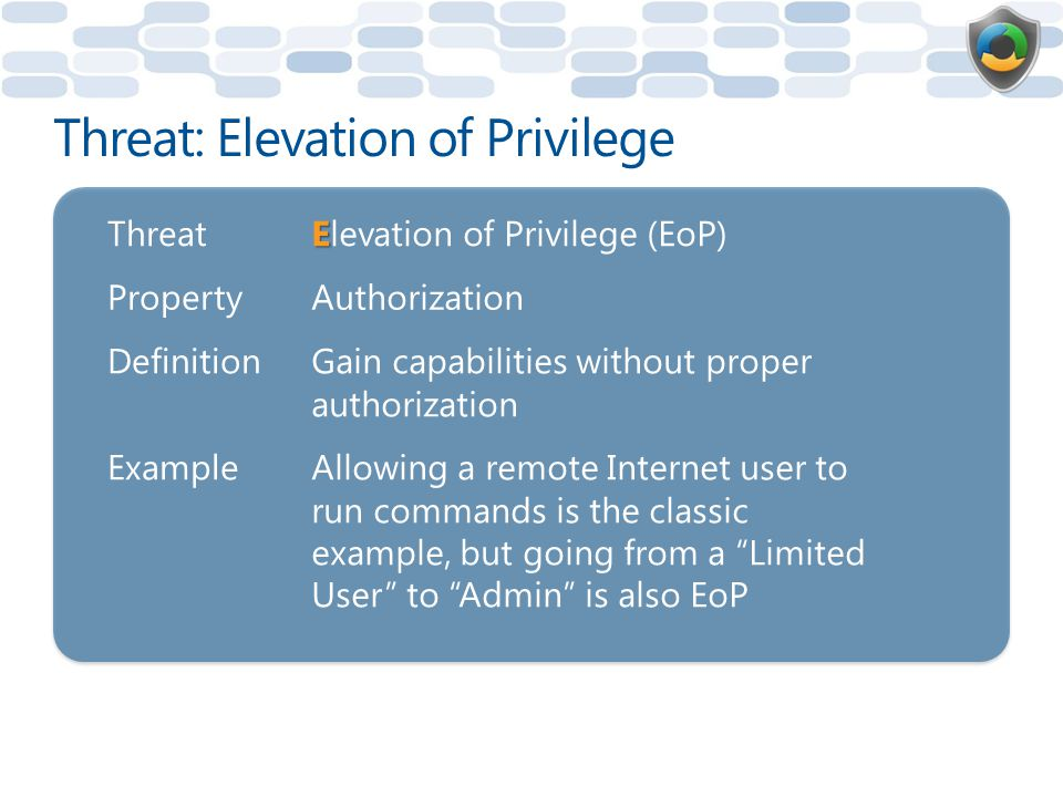 Threat: Elevation of Privilege Threat E Elevation of Privilege (EoP) PropertyAuthorization DefinitionGain capabilities without proper authorization ExampleAllowing a remote Internet user to run commands is the classic example, but going from a Limited User to Admin is also EoP